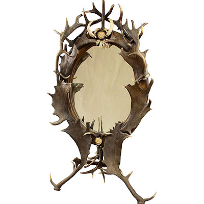 image of antler standing mirror, germany ca. 1890