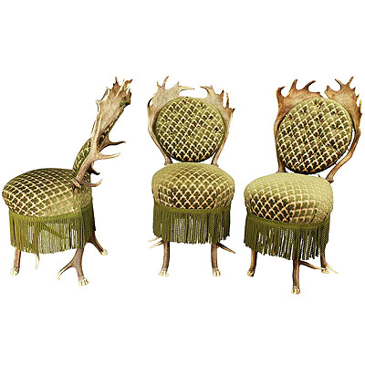 image of set of three victorian antler parlor chairs, austria ca. 1880