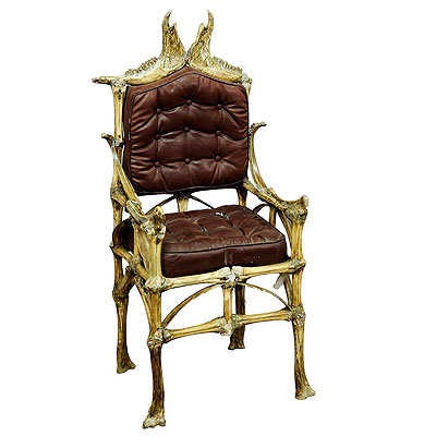 image of a large wacky bull bone throne chair ca. 1930