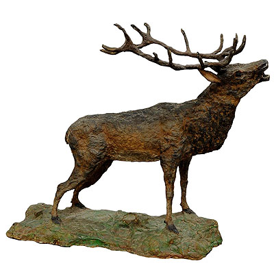 image of large rustic papier maché stag sculpture