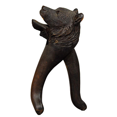 image of handcarved wood bear head nutcracker