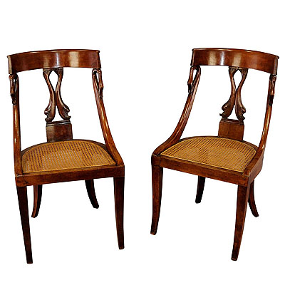 image of pair of hand-crafted biedermeier chairs with swan and dolphin backrests