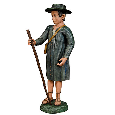 image of antique wooden carved crib figurine of a shepherd