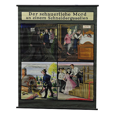image of hand-painted wall decoration chart depicting colorful the story of a murder ballad