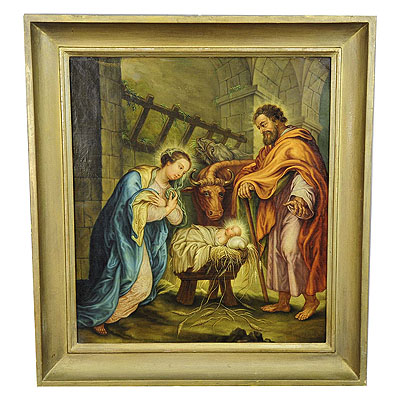 image of Unknown - Mary and Joseph in the Barn of Bethlehem