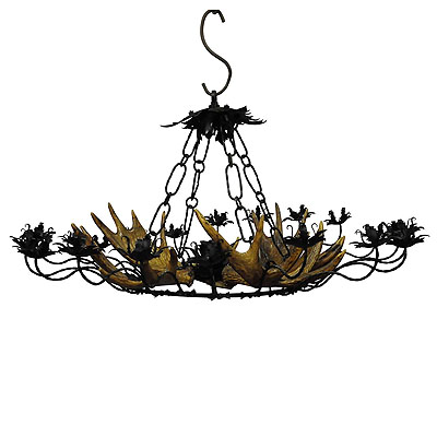 image of vintage antler chandelier with forged iron suspension
