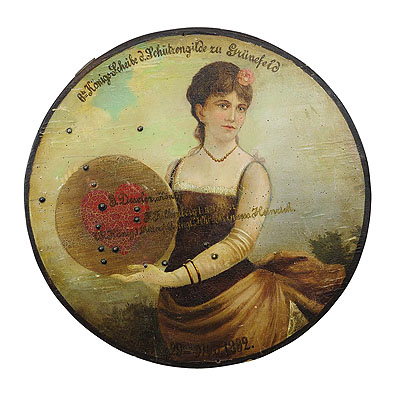 image of antique hand-painted marksman king target plaque 1892