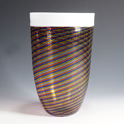 image of large cenedese filigrana vase with multicoloured glass bands