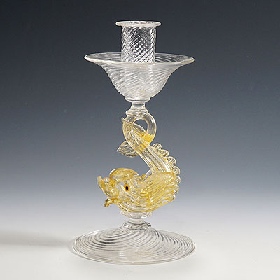 image of archimede seguso glass candle stick with dolphin ca. 1960ties