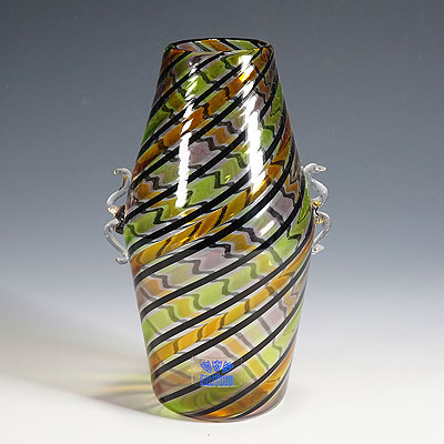 image of fratelli toso 'a canne' glass vase with handles, murano, italy ca. 1965