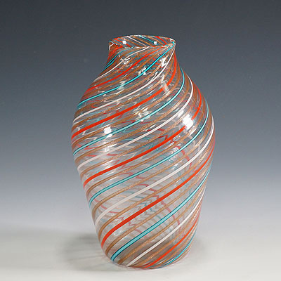 image of fratelli toso multicoloured a canne vase, murano, italy ca. 1965