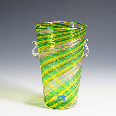 image of fratelli toso 'a canne' vase with aventurin, murano, italy ca. 1965