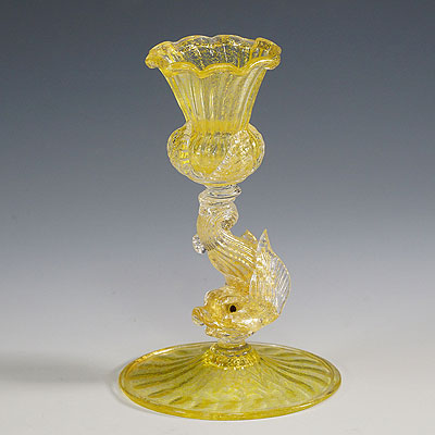 image of archimede seguso attr. glass candle stick with dolphin ca. 1960ties
