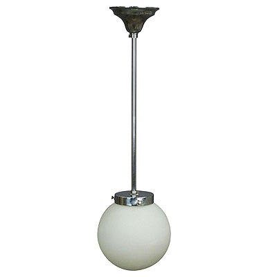image of functionalistic bauhaus style pendant light with opaline glass shade