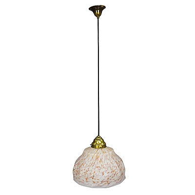 image of vintage pendant light with white and antique pink glass shade ca. 1950