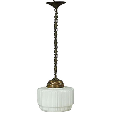 image of antique pendant light with large white glass shade ca. 1920