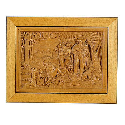 image of a wooden micro carving plaque by johann rint ca. 1880