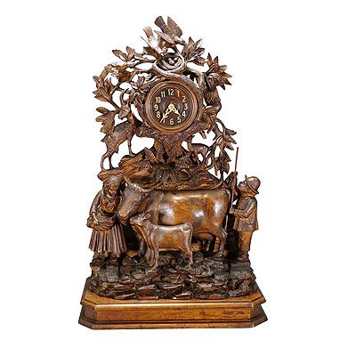 image of antique mantel clock with herdsman family, goats and cows