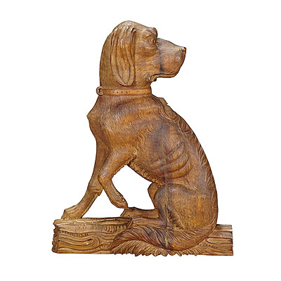 image of a fine carved statue of a staghound, circa 1920