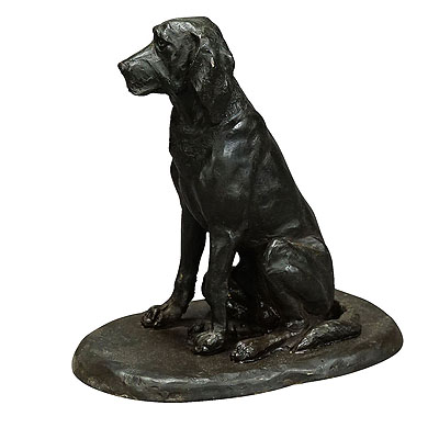 image of antique artistic bronze cast of a retriver, germany ca. 1900