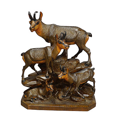 image of fine carved wood chamois family by ernst heissl ca. 1900
