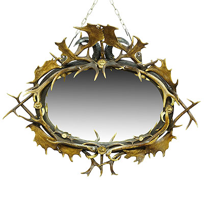 image of antique black forest mirror with rustic antler decorations ca. 1900
