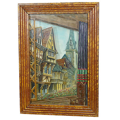 image of antique black forest diorama with handpainted medieval city ca. 1900