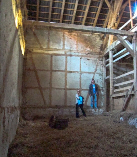 Martina and Markus and the interior view of the barn in  2011