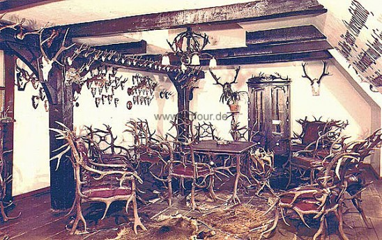 historical picture scans of antique antler furnishings