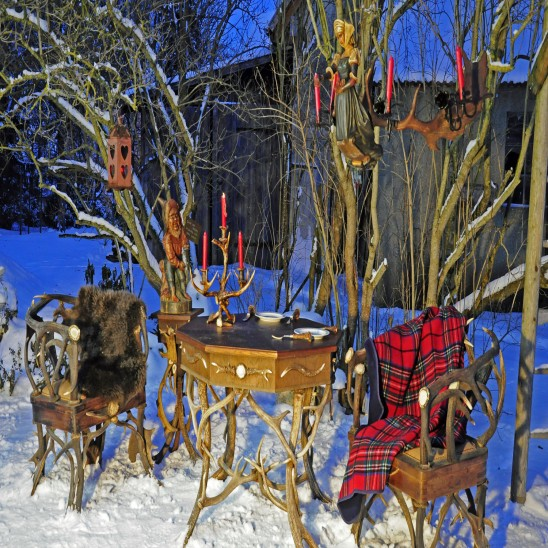 Hygge feeling and antique antler furnishings
